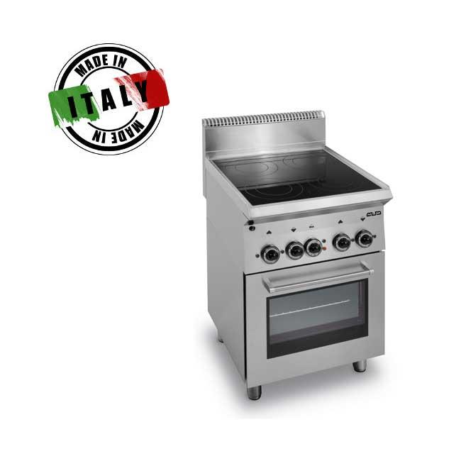 Cucina Monoblocco 4 Piastre Elettriche Vetroceramica Su Forno Elettrico 60x65x85cm