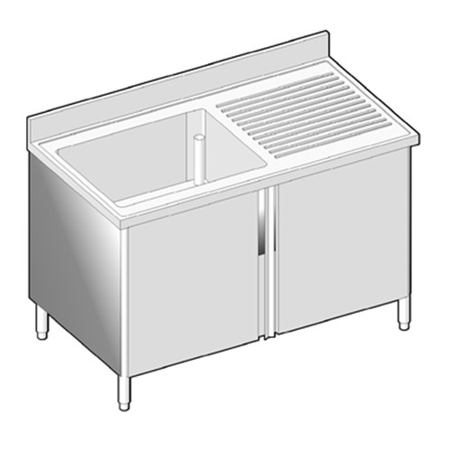 lavello armadiato in acciaio inox con ante battenti a 1 vasca con