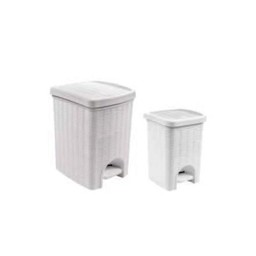 Pattumiera bianca con pedale in plastica per bagno - Pattumiera da bagno ...