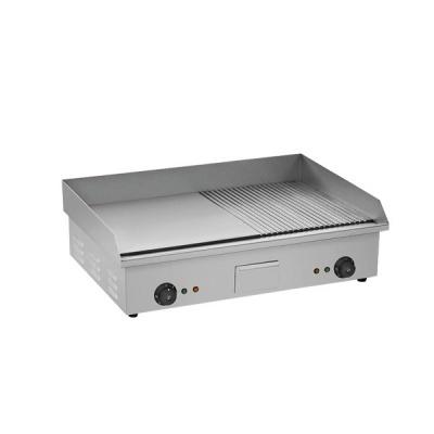 Piastra grill liscia rigata in acciaio inox 735x500x240 - Piastra in acciaio inox per cucinare ...