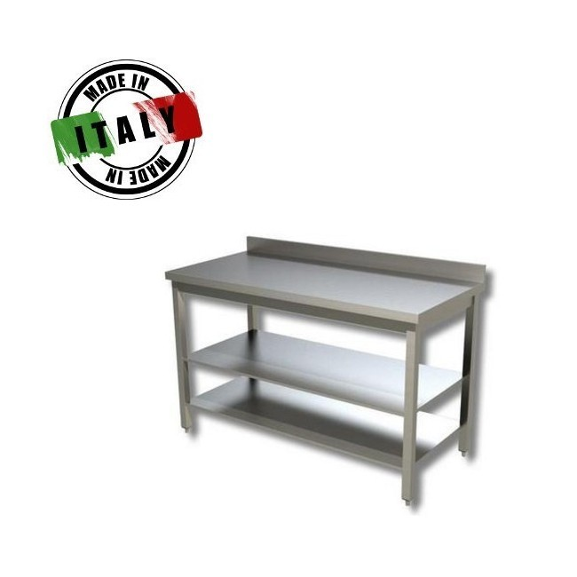 Tavolo a giorno inox con 2 ripiani inferiori e alzatina for Tavolo 40x40