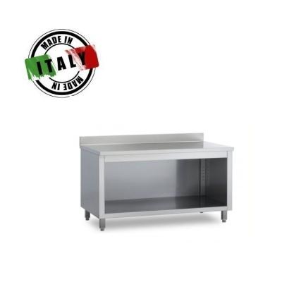 Tavolo con armadiatura su 3 lati e alzatina in acciaio inox prof 600mm - Tavoli acciaio inox prezzi ...